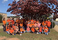 picture of students wearing orange for unity