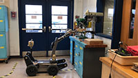 picture of police robot demo in class