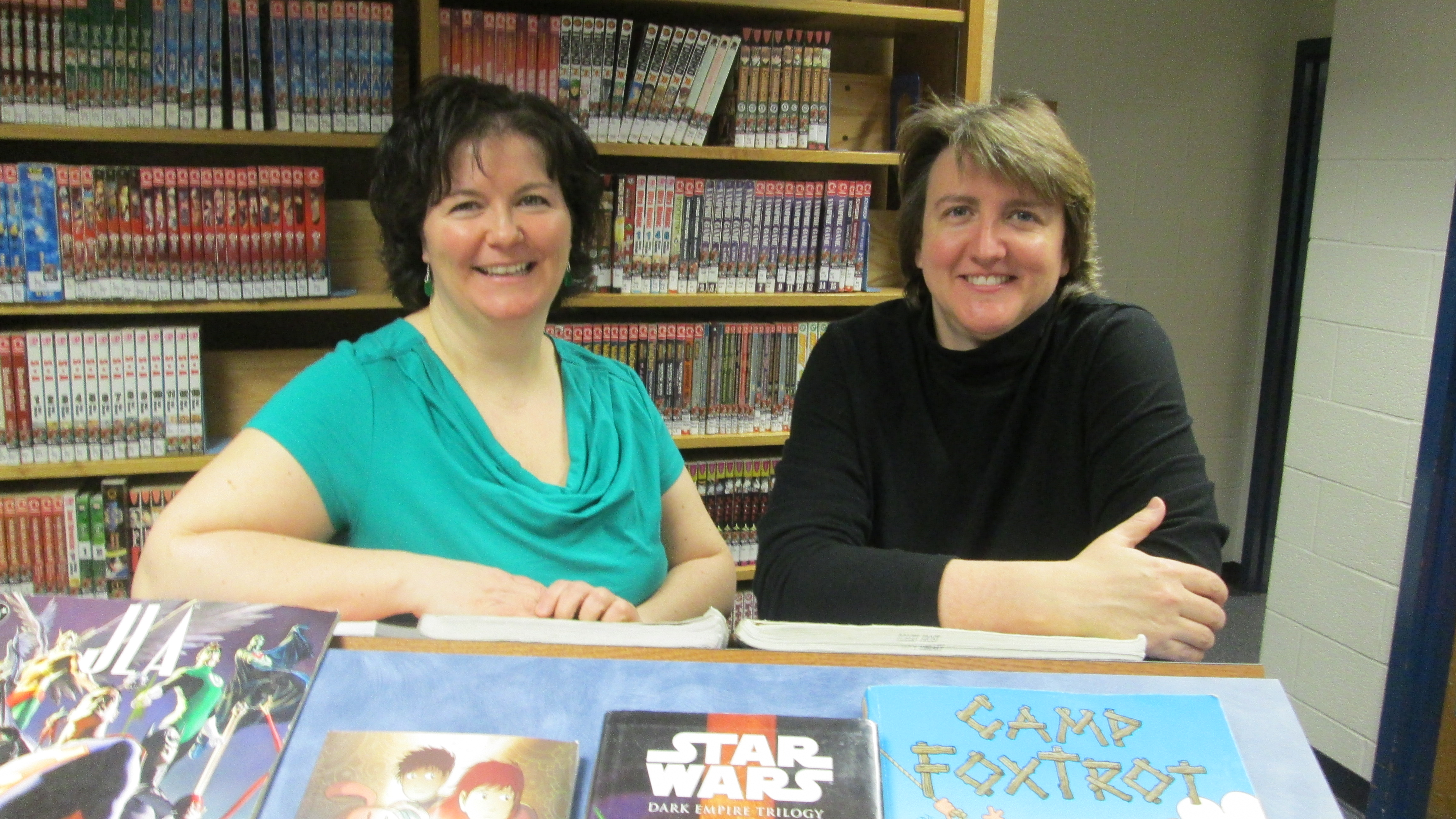 a picture of the Frost librarians, Ms. Alexander and Ms. Powers