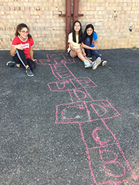 picture of students outside making their musical thinking visible